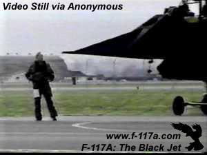 [F-117A pilot before the first mission of Allied Force. (Anonymous from 1st night video)]