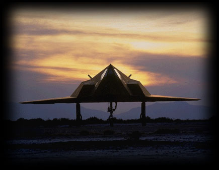[F-117A at dusk. (LMSW)]