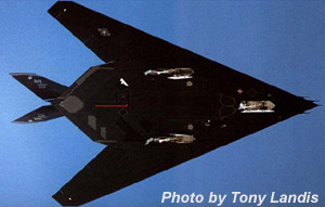 [Underside of F-117A #803. (Tony Landis)]
