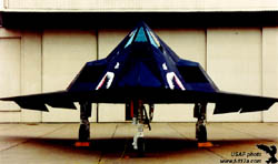 [Front view of F-117A at England AFB, La. (USAF photo)]