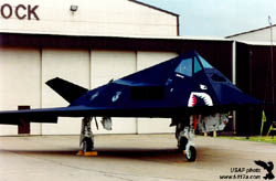 [3/4 view of F-117A at England AFB, La. (USAF photo)]