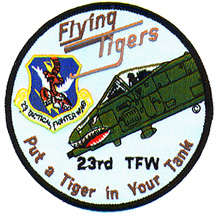 [23rd TFW patch showing wing sheild and A-10 noseart. (Darby's Patch Universe.)]