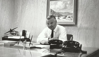 [Kelly Johnson in 1960s at his desk.(LMSW)]