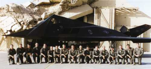 [Deployed members of the 9th FS in the fall of 1996.(Greg Feest via F-117A Nighthawk by Paul Crickmore)]