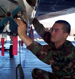 [File photo of BDU-33 practice bombs being checked by a maintainer.  (HAFB Sunburst)]