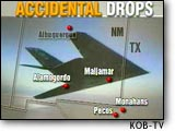 [Map of accidental bomb drops.  (KOB-TV)]