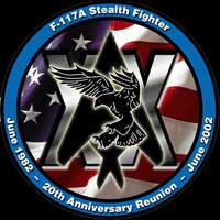 [Stealth Fighter Association 2002 Tonopah + 20 Reunion logo. (SFA)]