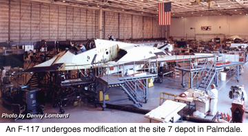 [An F-117A undergoes mods at Site 7. (Lockheed Martin Skunk Works)]