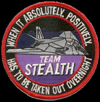 [Generic 'Team Stealth' patch wore by many Desert Sotrm Bandits stateside. ()]