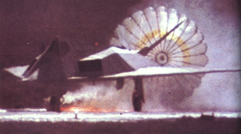 [Ship #782 landing on a foamed runway with no nose wheel.()]