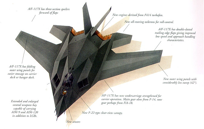 [Proposed A/F-117X. (Illustration by John Ridyard)]