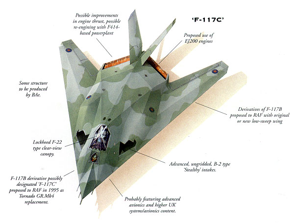 [Proposed RAF F-117B (British). (Illustration by John Ridyard)]